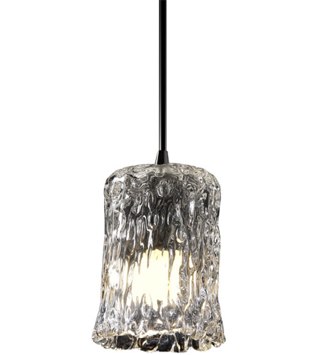 Justice Design GLA-8815-16-CLRT-NCKL Veneto Luce 1 Light 5 inch Brushed Nickel Pendant Ceiling Light in Clear Textured (Veneto Luce), Cylinder with Rippled Rim photo