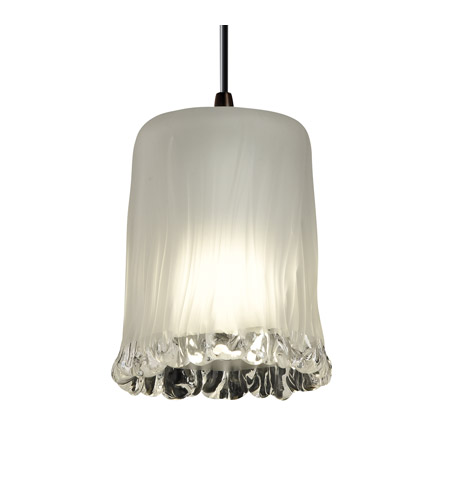 Justice Design GLA-8815-16-WTFR-DBRZ Veneto Luce 1 Light 4 inch Dark Bronze Pendant Ceiling Light in White Frosted (Veneto Luce), Cylinder with Rippled Rim photo