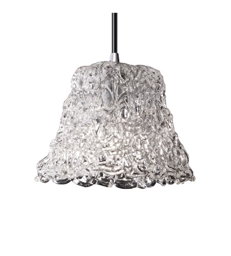 Justice Design GLA-8815-40-LACE-CROM Veneto Luce 1 Light 4 inch Polished Chrome Pendant Ceiling Light in Cord, Lace (Veneto Luce), Square Flared photo