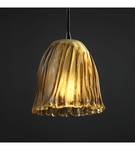 Justice Design Veneto Luce Pendants Mini 1-Light Pendant in Dark Bronze GLA-8815-56-AMBR-DBRZ photo