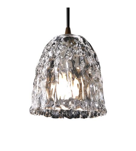 Justice Design Veneto Luce Pendants Mini 1-Light Pendant in Dark Bronze GLA-8815-56-CLRT-DBRZ photo