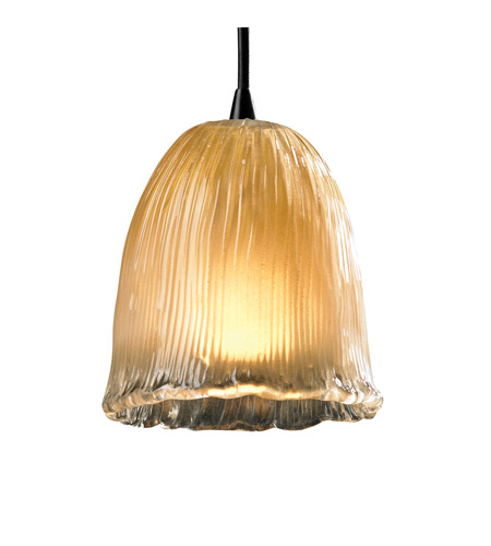 Justice Design GLA-8815-56-GLDC-DBRZ Veneto Luce 1 Light 4 inch Dark Bronze Pendant Ceiling Light in Gold with Clear Rim (Veneto Luce), Tulip with Rippled Rim photo