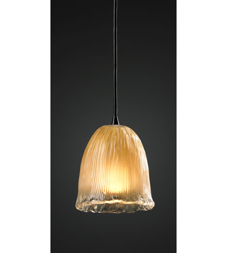 Justice Design GLA-8815-56-GLDC-MBLK Veneto Luce 1 Light 4 inch Matte Black Pendant Ceiling Light in Cord, Gold with Clear Rim (Veneto Luce), Tulip with Rippled Rim photo