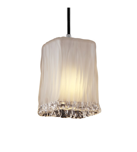 Justice Design GLA-8816-26-WTFR-CROM Veneto Luce 1 Light 5 inch Polished Chrome Pendant Ceiling Light in Cord, White Frosted (Veneto Luce) photo