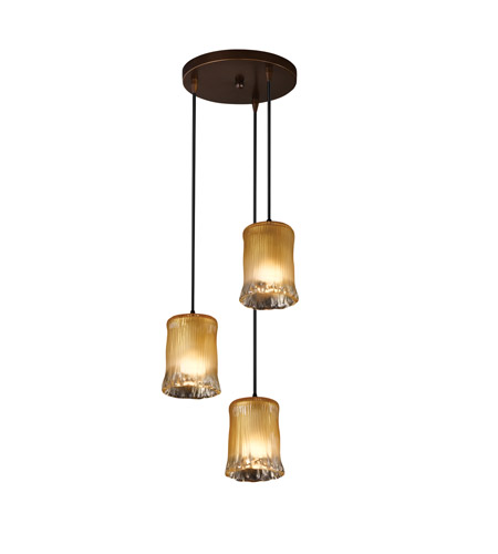 Justice Design GLA-8818-18-LACE-CROM-BKCD Veneto Luce 3 Light 6 inch Polished Chrome Pendant Ceiling Light in Lace (Veneto Luce), Tapered Cylinder photo