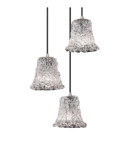 Justice Design GLA-8818-20-LACE-NCKL-BKCD Veneto Luce 3 Light 4 inch Brushed Nickel Pendant Ceiling Light in Lace (Veneto Luce), Round Flared photo