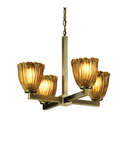 Justice Design Veneto Luce Modular 4-Light Chandelier in Antique Brass GLA-8829-56-AMBR-ABRS photo