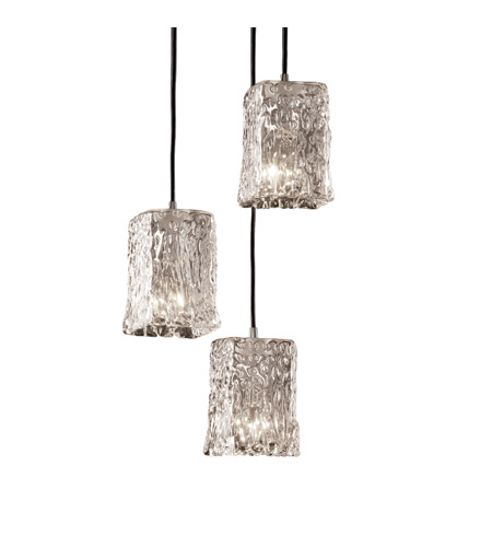 Justice Design GLA-8864-26-GLDC-CROM-BKCD Veneto Luce 3 Light 5 inch Polished Chrome Pendant Ceiling Light in Gold with Clear Rim (Veneto Luce) photo