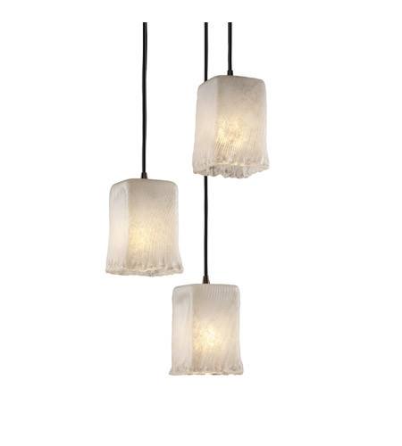 Justice Design GLA-8864-26-WHTW-DBRZ Veneto Luce 3 Light 5 inch Dark Bronze Pendant Ceiling Light in Whitewash (Veneto Luce) photo