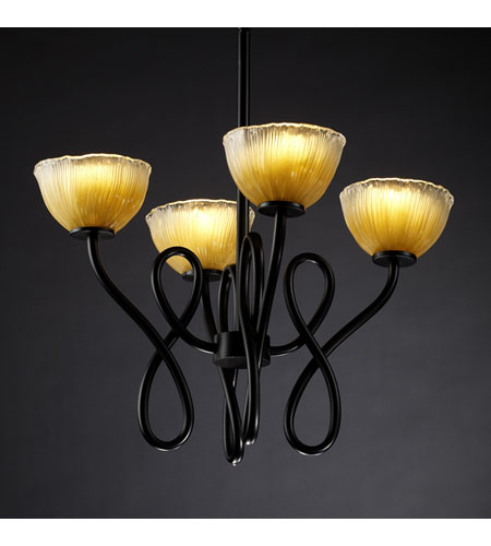 Justice Design Veneto Luce Capellini 4-Light Chandelier in Matte Black GLA-8910-36-GLDC-MBLK photo