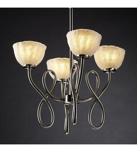 Justice Design Veneto Luce Capellini 4-Light Chandelier in Brushed Nickel GLA-8910-36-WHTW-NCKL photo