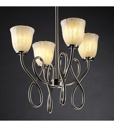 Justice Design Veneto Luce Capellini 4-Light Chandelier in Brushed Nickel GLA-8910-56-WHTW-NCKL photo