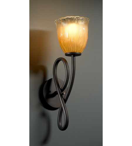Justice Design GLA-8911-56-GLDC-DBRZ Veneto Luce 1 Light 6 inch Dark Bronze Wall Sconce Wall Light in Gold with Clear Rim (Veneto Luce), Tulip with Rippled Rim photo