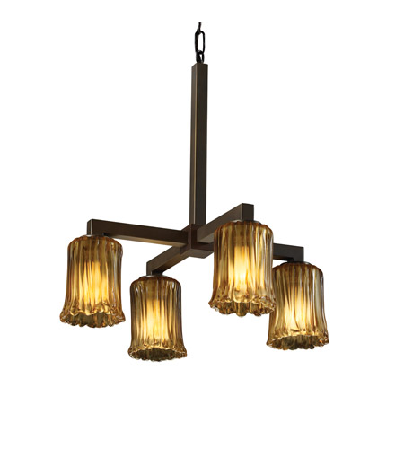 Justice Design GLA-8920-16-AMBR-DBRZ Veneto Luce 4 Light 22 inch Dark Bronze Chandelier Ceiling Light in Amber (Veneto Luce), Cylinder with Rippled Rim photo