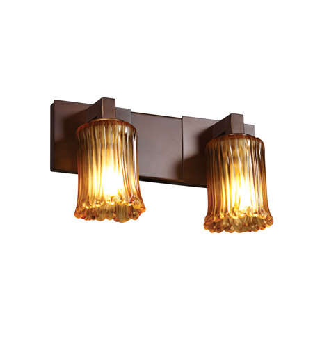 Justice Design GLA-8922-16-WTFR-ABRS-LED2-1400 Veneto Luce LED 15 inch Antique Brass Bath Bar Wall Light, Modular photo