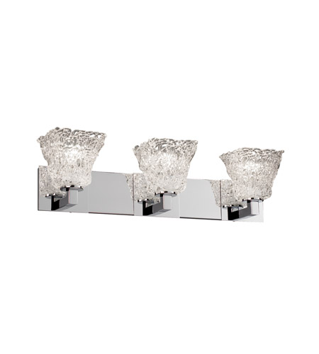 Justice Design GLA-8923-40-LACE-CROM Veneto Luce 3 Light 27 inch Polished Chrome Bath Bar Wall Light in Lace (Veneto Luce), Square Flared photo