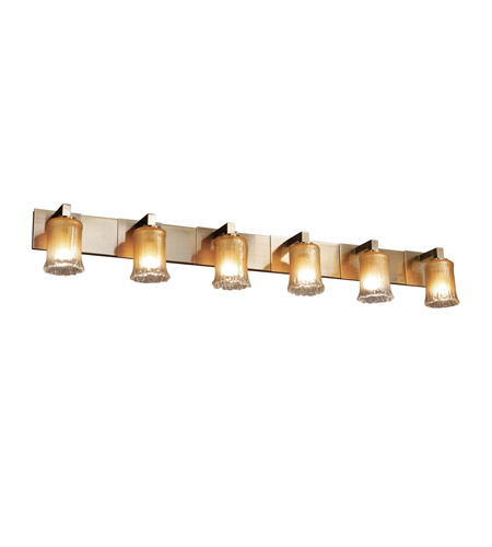 Justice Design GLA-8926-16-GLDC-ABRS Veneto Luce 6 Light 56 inch Antique Brass Bath Bar Wall Light in Gold with Clear Rim (Veneto Luce), Cylinder with Rippled Rim photo