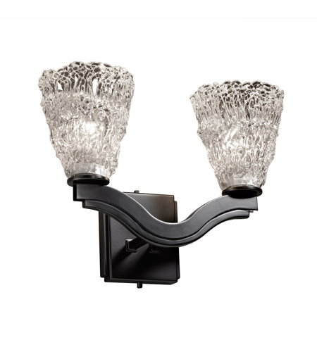 Justice Design Veneto Luce Bend 2-Light Wall Sconce (Style 2) in Matte Black GLA-8975-18-LACE-MBLK photo
