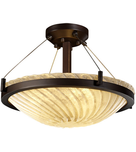Justice Design GLA-9681-35-WHTW-DBRZ Veneto Luce 3 Light 21 inch Dark Bronze Semi-Flush Bowl Ceiling Light in Whitewash (Veneto Luce) photo