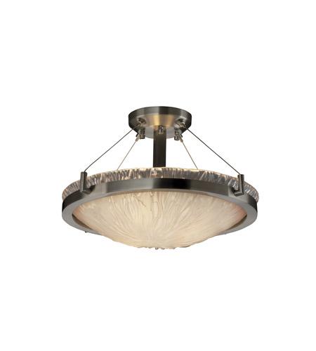 Veneto Luce 3 Light 21 Inch Brushed Nickel Semi Flush Bowl Ceiling Light In White Frosted Veneto Luce Incandescent
