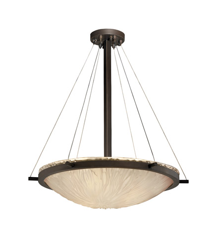 Justice Design GLA-9692-35-WTFR-DBRZ Veneto Luce 6 Light 27 inch Dark Bronze Pendant Bowl Ceiling Light in White Frosted (Veneto Luce) photo