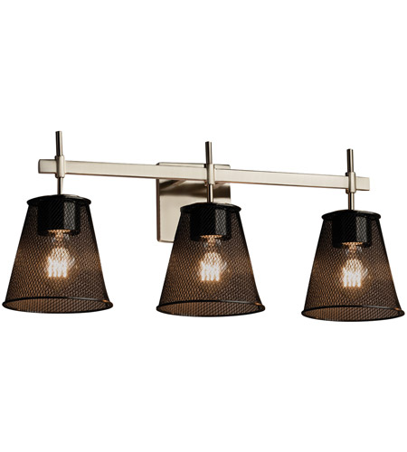 Vanity Lights Wiring : Wire Mesh 3 Light 24 inch Brushed Nickel Vanity Light Wall Light in Cone