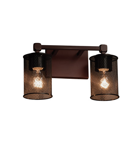 Wire Mesh 2 Light 13 inch Dark Bronze Vanity Light Wall Light in 7.75, Cylinder with Flat Rim