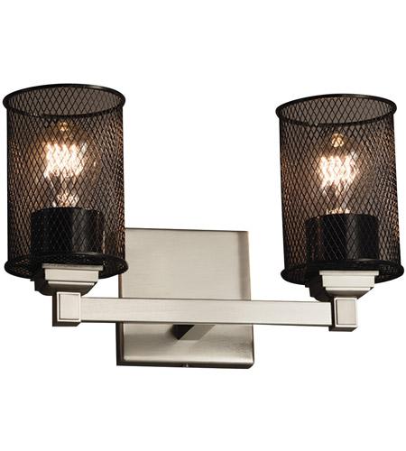 Justice Design Group Lighting MSH-8432-10-MBLK Regency 2-Light Bath Bar-Cylinder w//Flat Rim Shade-Matte Black-Wire Mesh