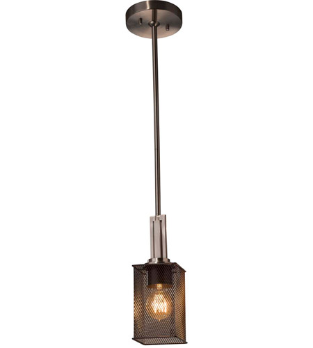 Justice Design Msh 8445 15 Nckl Wire Mesh 1 Light 4 Inch Brushed Nickel Pendant Ceiling In Square With Flat Rim