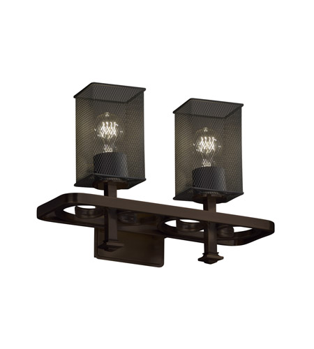 Justice Design MSH-8562-15-DBRZ Arcadia 2 Light 18 inch Dark Bronze Bath Light Wall Light in Square with Flat Rim