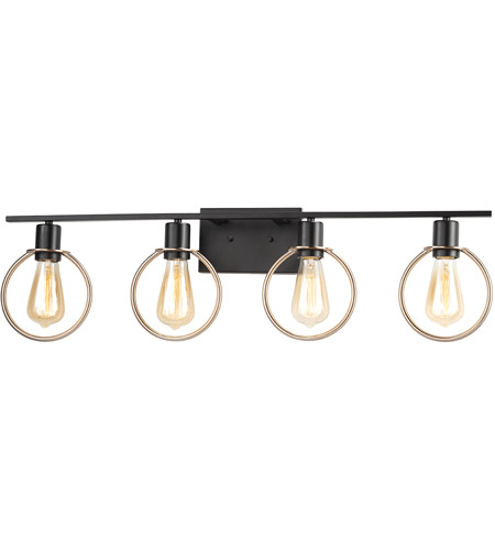 Justice Design NSH-8904-MBBR Volta 33 inch Matte Black with Brass Ring Bath Bar Wall Light photo thumbnail