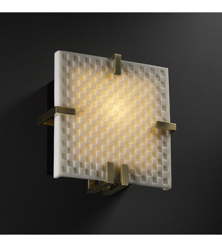 Justice Design Porcelina Clips Square Wall Sconce (Ada) in Antique Brass PNA-5550-CHKR-ABRS photo