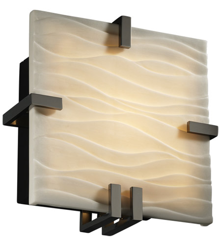 Justice Design Porcelina Clips Square Wall Sconce (Ada) in Black Nickel PNA-5550-WAVE-BLKN photo