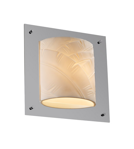 Justice Design PNA-5561-BANL-CROM Porcelina 1 Light 12 inch Polished Chrome ADA Wall Sconce Wall Light in Banana Leaf photo