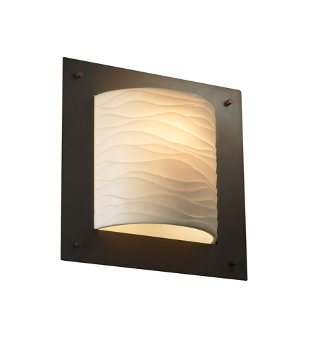 Justice Design PNA-5561-WAVE-DBRZ Porcelina 1 Light 12 inch Dark Bronze ADA Wall Sconce Wall Light in Waves photo