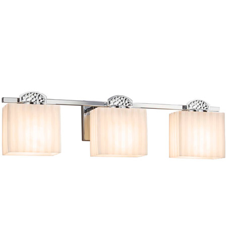 Justice Design PNA-8493-55-PLET-DBRZ Porcelina Malleo 3 Light 24 inch Dark Bronze Bath Bar Wall Light photo thumbnail