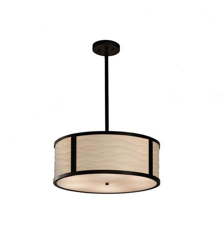 Justice Design Pna 9541 Wave Mblk Porcelina Matte Black Drum Pendant Ceiling Light In Waves Incandescent