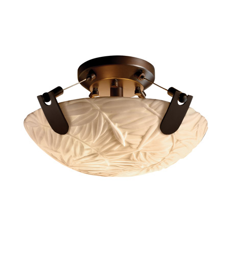 Justice Design PNA-9610-35-BMBO-DBRZ Porcelina 2 Light 16 inch Dark Bronze Semi-Flush Bowl Ceiling Light in Round Bowl, Bamboo photo