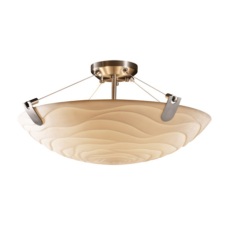 Justice Design PNA-9612-35-WAVE-NCKL Porcelina 6 Light 27 inch Brushed Nickel Semi-Flush Bowl Ceiling Light in Round Bowl, Waves photo