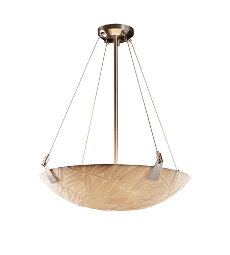 Justice Design PNA-9642-35-BMBO-NCKL Porcelina 6 Light 27 inch Brushed Nickel Pendant Bowl Ceiling Light in Round Bowl, Bamboo photo