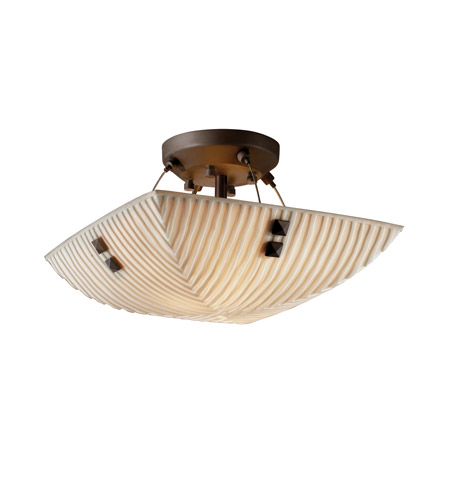 Justice Design PNA-9650-25-WFAL-DBRZ-F3 Porcelina 2 Light 14 inch Dark Bronze Semi-Flush Bowl Ceiling Light in Pair of Square with Points, Square Bowl, Waterfall photo