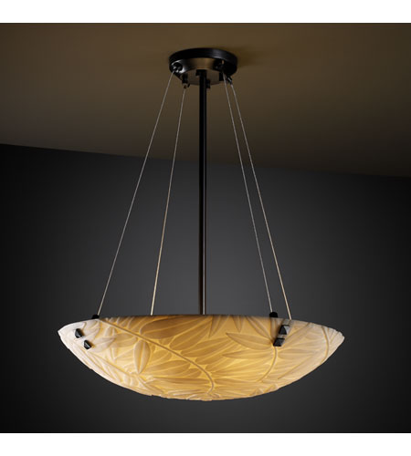 Justice Design PNA-9661-35-BMBO-MBLK-F3 Porcelina 3 Light 21 inch Matte Black Pendant Bowl Ceiling Light in Pair of Square with Points, Round Bowl, Bamboo photo