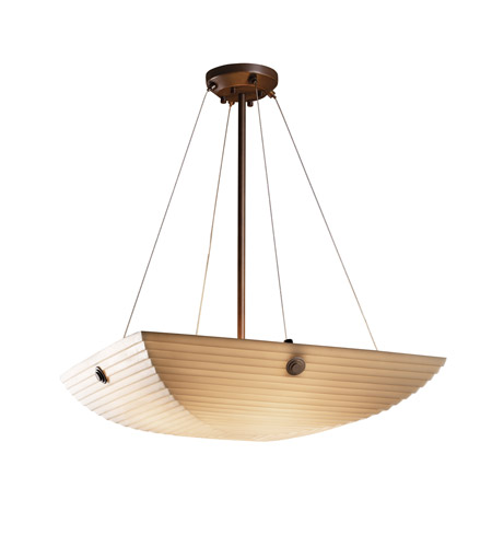 Justice Design PNA-9662-25-SAWT-DBRZ-F6 Porcelina 6 Light 27 inch Dark Bronze Pendant Bowl Ceiling Light in Concentric Circles, Square Bowl, Sawtooth photo