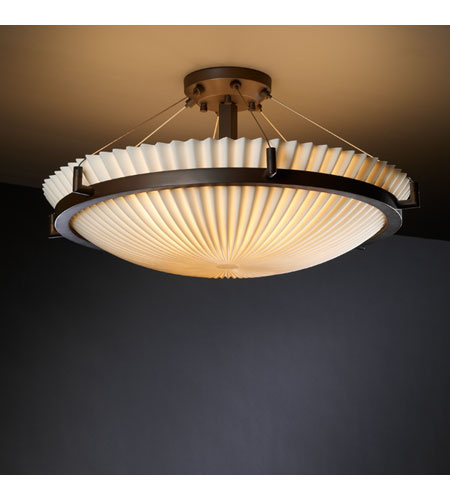 Justice Design PNA-9682-35-PLET-DBRZ Porcelina 6 Light 27 inch Dark Bronze Semi-Flush Bowl Ceiling Light in Pleats photo
