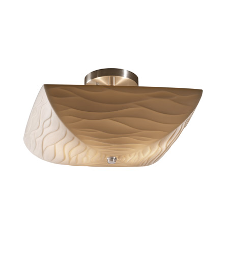 Justice Design PNA-9695-25-WAVE-NCKL Porcelina 2 Light 14 inch Brushed Nickel Semi-Flush Bowl Ceiling Light in Waves photo