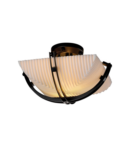 Justice Design PNA-9710-25-PLET-MBLK Porcelina 2 Light 17 inch Matte Black Semi-Flush Bowl Ceiling Light in Square Bowl, Pleats photo