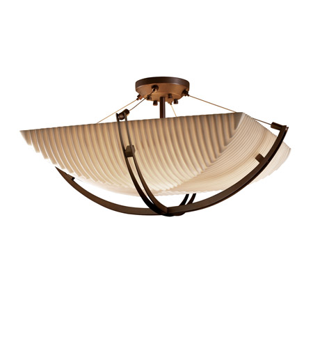 Justice Design PNA-9712-25-PLET-DBRZ Porcelina 6 Light 28 inch Dark Bronze Semi-Flush Bowl Ceiling Light in Square Bowl, Pleats photo
