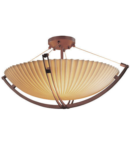 Justice Design PNA-9712-35-PLET-DBRZ Porcelina 6 Light 28 inch Dark Bronze Semi-Flush Bowl Ceiling Light in Round Bowl, Pleats photo