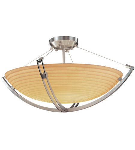 Justice Design PNA-9712-35-SAWT-NCKL Porcelina 6 Light 28 inch Brushed Nickel Semi-Flush Bowl Ceiling Light in Round Bowl, Sawtooth photo