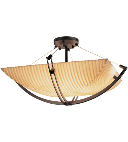 Justice Design PNA-9717-25-PLET-DBRZ Porcelina 8 Light 55 inch Dark Bronze Semi-Flush Bowl Ceiling Light in Square Bowl, Pleats photo